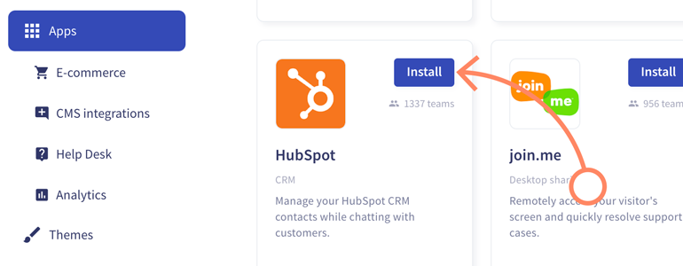 Install Hubspot app, available on LiveChat Marketplace