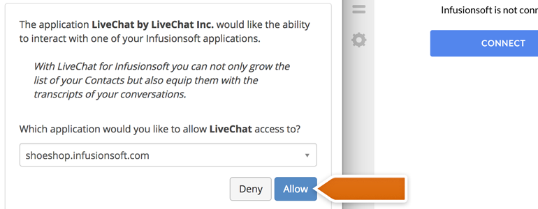 Infusionsoft LiveChat: Click on Allow button to continue