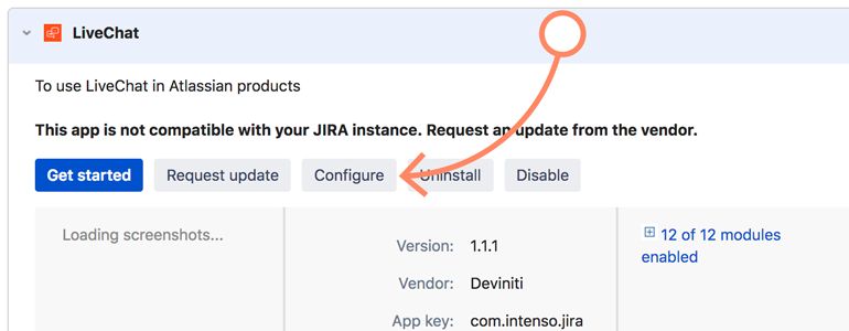 Jira: click on continue available under LiveChat app