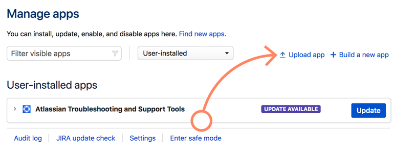 Jira: Click on Upload app to continue