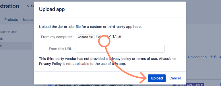 Jira: click on Upload button