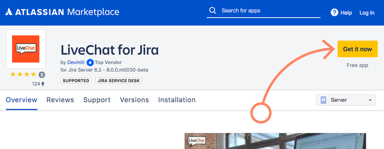 Jira: download LiveChat for Jira app