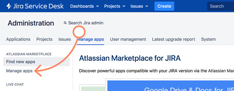 Jira: go to Manage Apps section