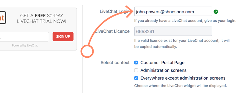 Jira: provide the email address of your LiveChat license
