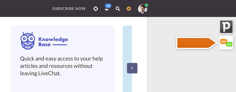 Join Me LiveChat: Click on Join.me icon, available at the top right section of your LiveChat
