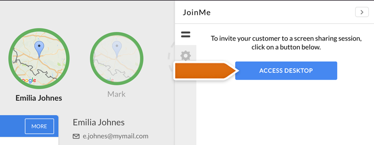 Join Me LiveChat: Click on Access Desktop to initiate a screen sharing session
