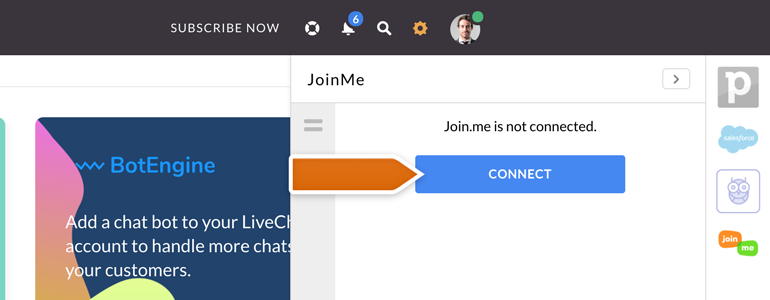 Join Me LiveChat: Click on Connect to proceed