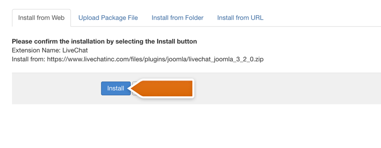 Joomla!: confirm the installation by clicking on Install button