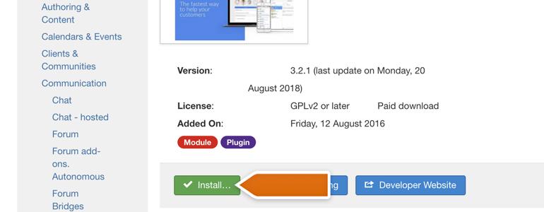 Joomla!: install the plugin
