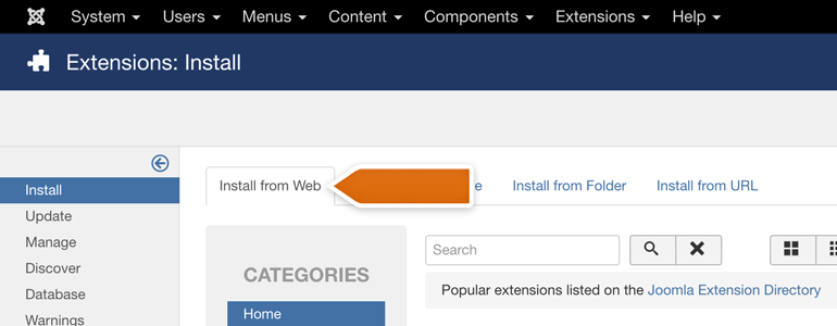 Joomla!: go to the Install from Web category