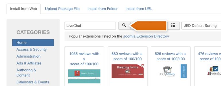 Joomla!: look for LiveChat plugin