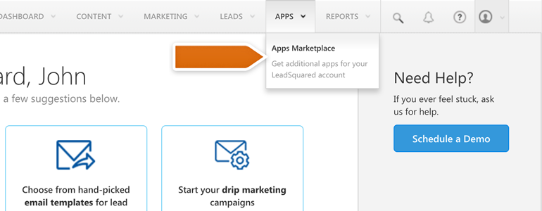 Log into your LeadSquared and go to Apps Market