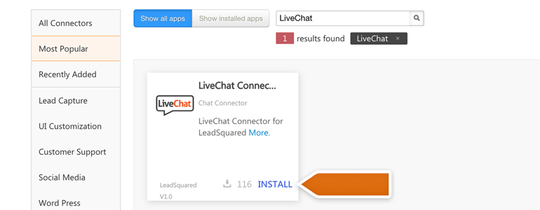 Look for LiveChat and click on Install to continue