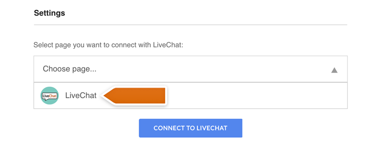 Messenger LiveChat: Choose your Fanpage