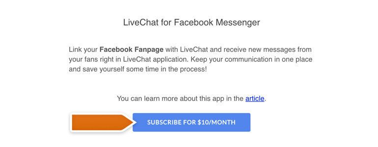 Messenger LiveChat: Click on Subscribe to proceed