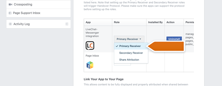 Messenger LiveChat: Assign Primary Receiver as a role for your LiveChat app