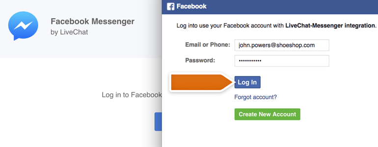 Messenger LiveChat: Provide your Facebook credentials and click on Log in