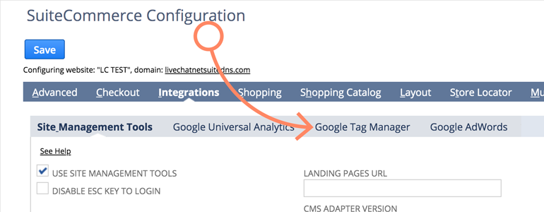 NetSuite LiveChat: Choose Google Tag Manager from the list of available Integrations