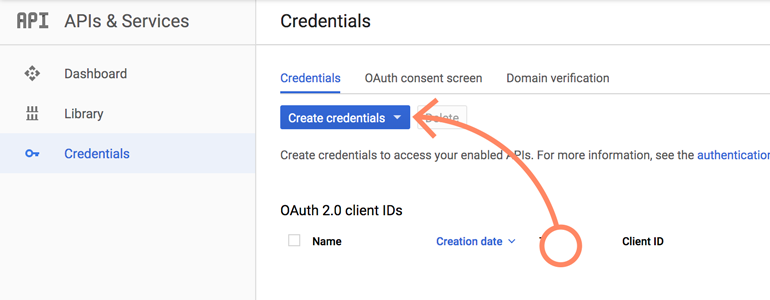 NetSuite LiveChat: Click on Create Credentials button in Google Console