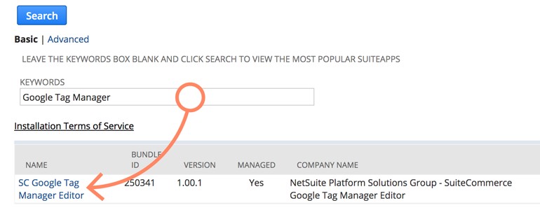 NetSuite LiveChat: Choose SC Google Tag Manager Editor from the list of bundles