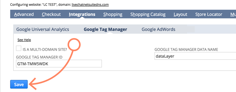 NetSuite LiveChat: Provide your Google Tag Manager ID and Save changes