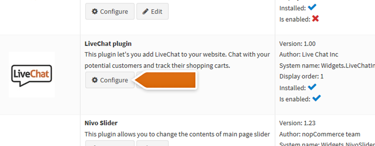nopCommerce LiveChat: Configure your LiveChat plugin