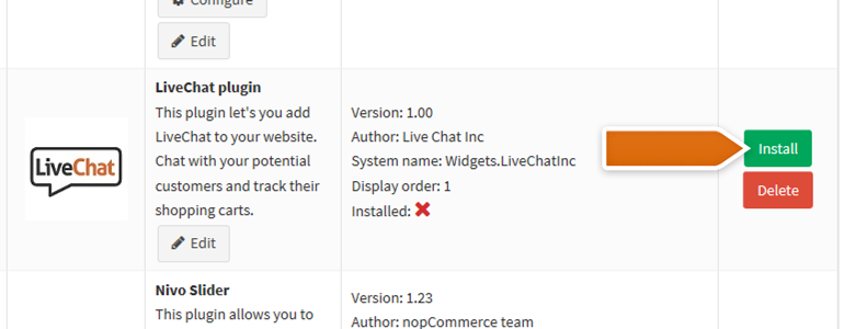 nopCommerce LiveChat: after successful upload, install your LiveChat plugin