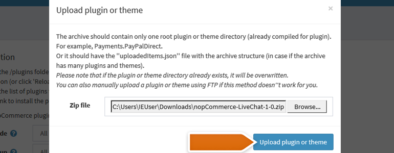 nopCommerce LiveChat: Upload LiveChat plugin onto your server
