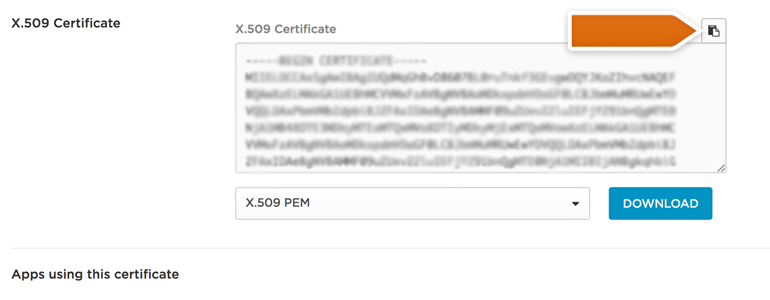 Copy the certificate from the X.509 Certificate section