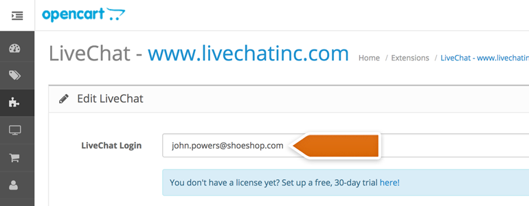 Provide your LiveChat email address in the LiveChat Login field