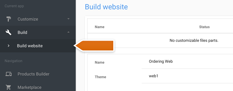 Ordering LiveChat: Go to the Build Website section of your Ordering Builder