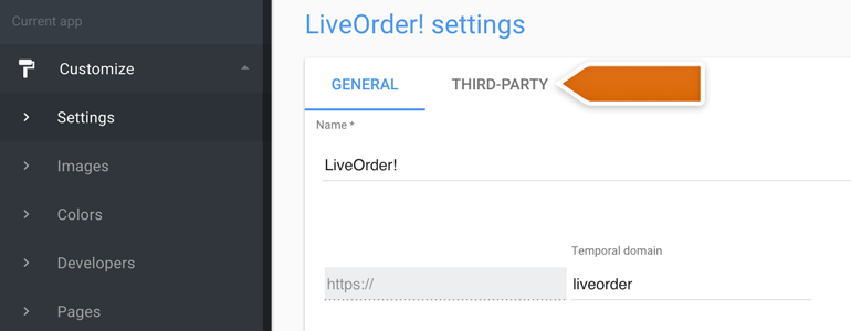 Ordering LiveChat: Go to the Third-party section