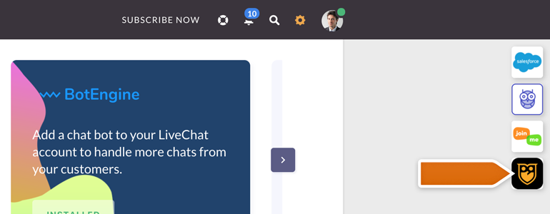 Pingrely LiveChat: Click on Pingrely icon, available at the top right section of your LiveChat
