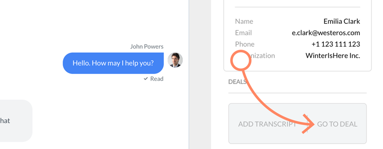 View the transcript added to Deal straight in Pipedrive dashboard