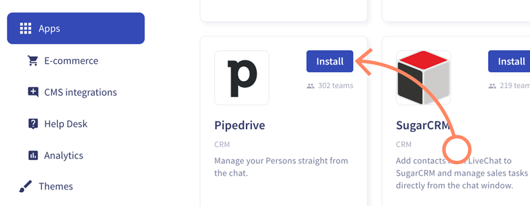 Install Pipedrive app, available on LiveChat Marketplace