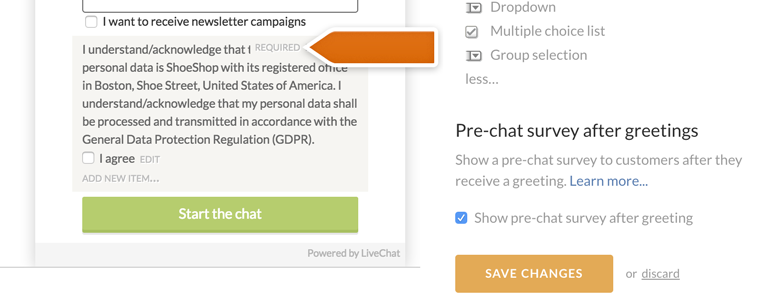 Save changes to your pre-chat survey