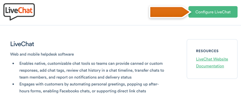 Click on Configure LiveChat to proceed