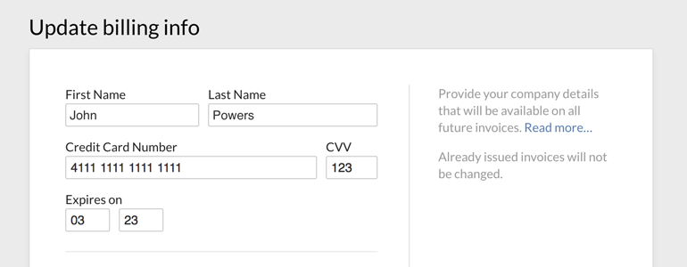 Set up your company's Billing Address at LiveChat
