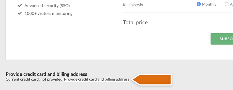 Go to Provide credit card and billing address section