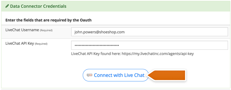 Provide your LiveChat credentials