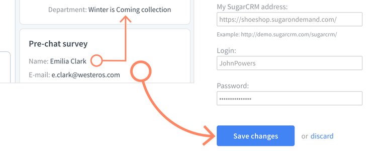Provide your SugarCRM information and click on Save Changes