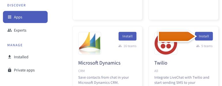 Twilio LiveChat: Install Twilio app to proceed