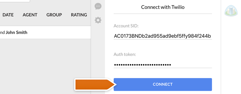 Twilio LiveChat: Paste your Twilio credentials and click on Connect