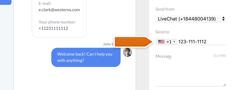 Twilio LiveChat: provide your customer's number