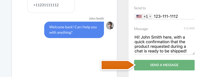Twilio LiveChat: type your message and hit Send