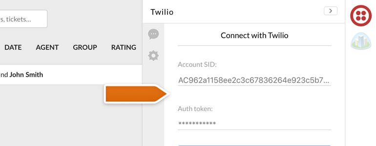 Twilio LiveChat: Provide your Twilio credentials