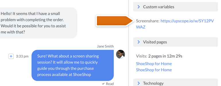 Start a screen sharing session by clicking on a link