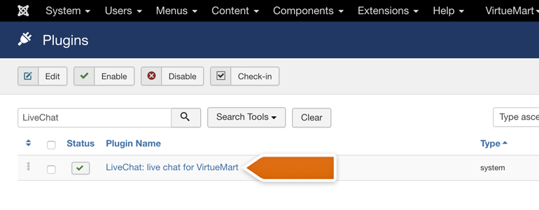 VirtueMart LiveChat: choose LiveChat from the list of available plugins