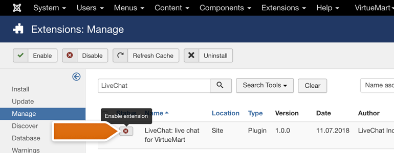 VirtueMart LiveChat: Look for LiveChat module and enable it
