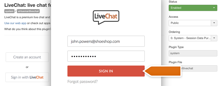 VirtueMart LiveChat: provide your LiveChat credentials and click on Sign in